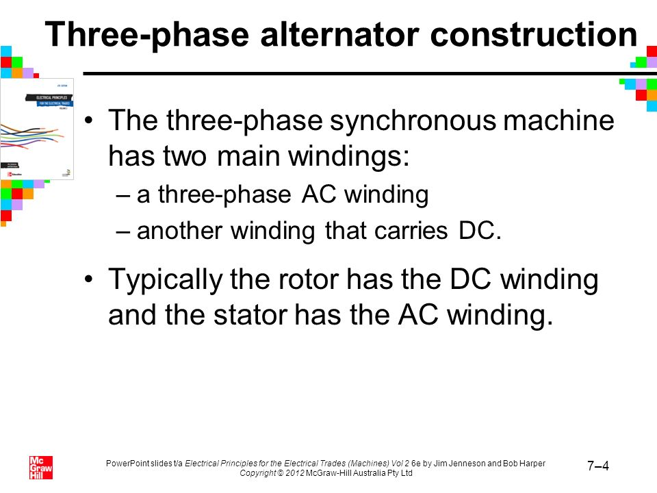 PowerPoint slides t/a Electrical Principles for the Electrical Trades (Machines) Vol 2 6e by Jim Jenneson and Bob Harper Copyright © 2012 McGraw-Hill Australia Pty Ltd 7–5 Three-phase alternator construction (continued) The advantages of a DC rotor include: –extra winding space for the AC windings –easier to insulate for higher voltages –simple and strong rotor construction –lower voltages and currents in the rotating windings –high current windings have solid connections to external circuits –better suited to the higher speeds of turbine drives.