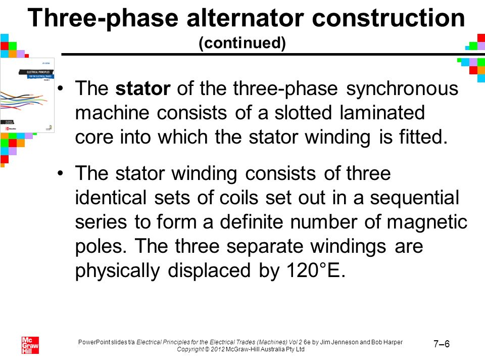PowerPoint slides t/a Electrical Principles for the Electrical Trades (Machines) Vol 2 6e by Jim Jenneson and Bob Harper Copyright © 2012 McGraw-Hill Australia Pty Ltd 7–27 Parallel operation of alternators (continued) The requirements for parallel connection of alternators are: –identical output waveforms –the same phase sequence –the same alternator and supply voltages –the alternator and supply voltages in phase –identical alternator and supply frequencies.