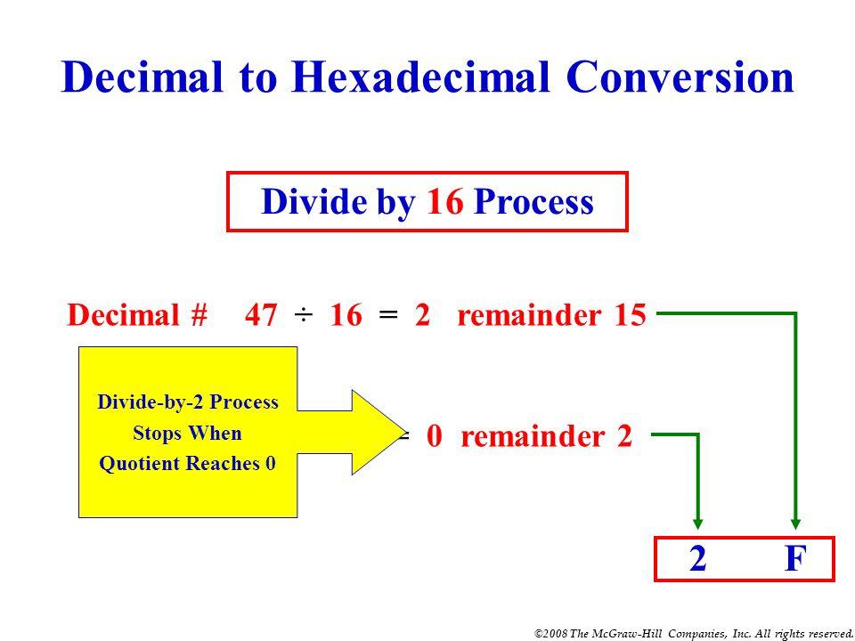 ©2008 The McGraw-Hill Companies, Inc. All rights reserved. Hexadecimal to Binary Conversion HexadecimalC 3 Binary 1100 0011 Binary 1110 1010 Hexadecim