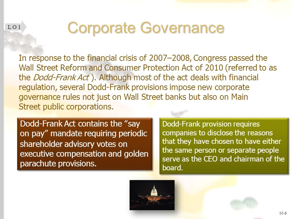McGraw-Hill/Irwin © 2008 The McGraw-Hill Companies, Inc., All Rights Reserved. 1-6 Corporate Governance L O 1 In response to the financial crisis of 2
