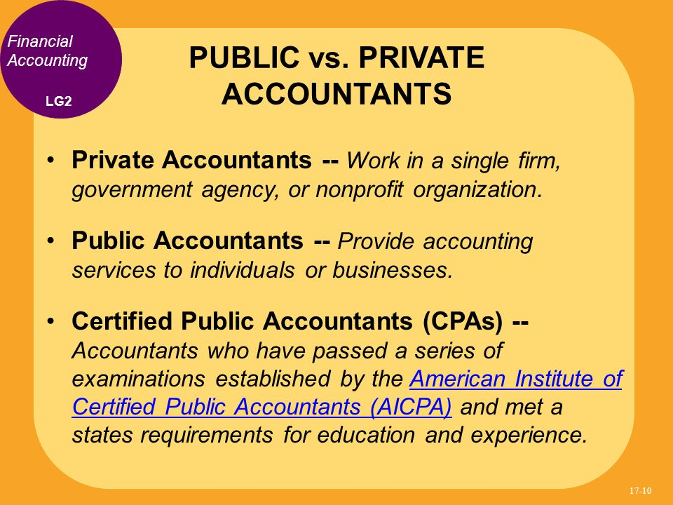 Private Accountants -- Work in a single firm, government agency, or nonprofit organization. Public Accountants -- Provide accounting services to indiv