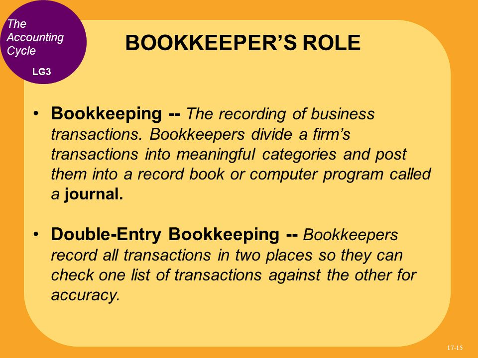 Bookkeeping -- The recording of business transactions. Bookkeepers divide a firms transactions into meaningful categories and post them into a record