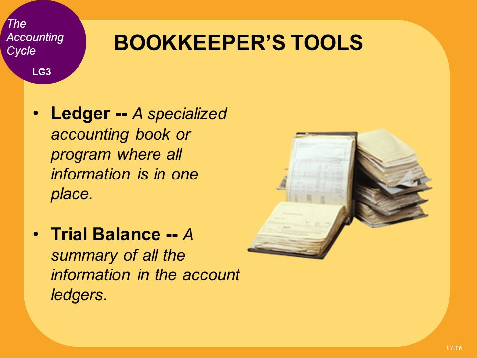 Ledger -- A specialized accounting book or program where all information is in one place. Trial Balance -- A summary of all the information in the acc