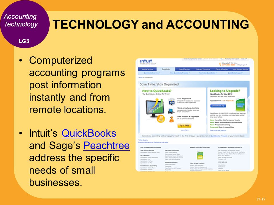 Computerized accounting programs post information instantly and from remote locations. Intuits QuickBooks and Sages Peachtree address the specific nee