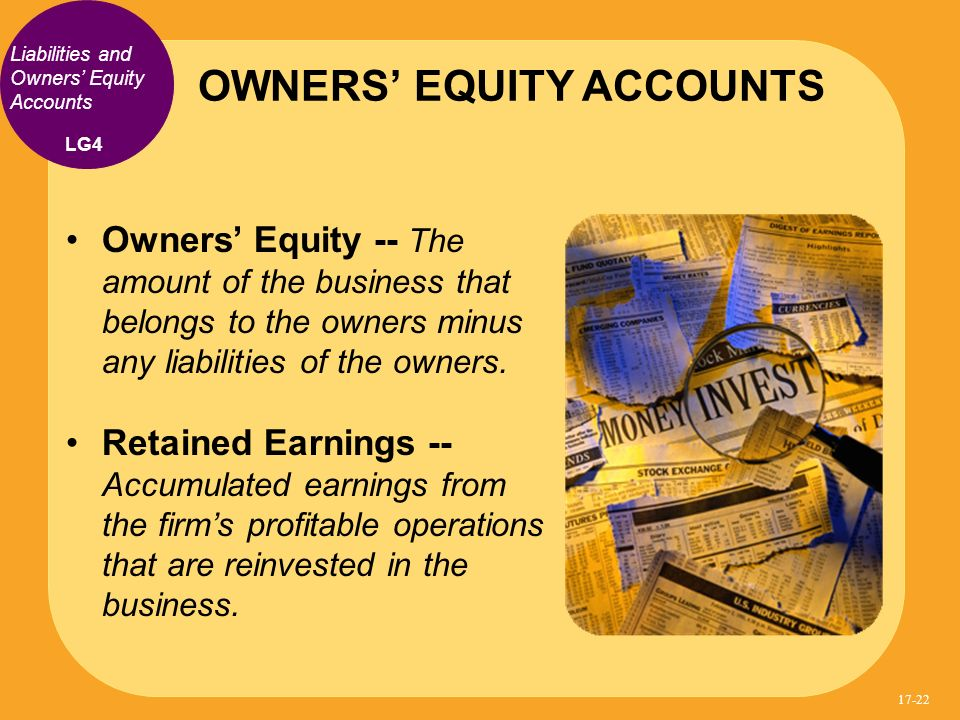 Owners Equity -- The amount of the business that belongs to the owners minus any liabilities of the owners.