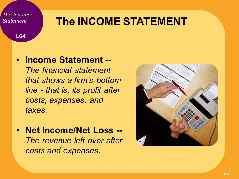 Income Statement -- The financial statement that shows a firms bottom line - that is, its profit after costs, expenses, and taxes.