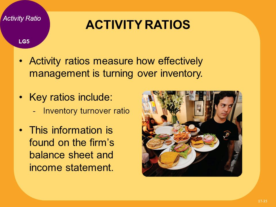 Activity ratios measure how effectively management is turning over inventory. Key ratios include: Inventory turnover ratio ACTIVITY RATIOS Activity Ra