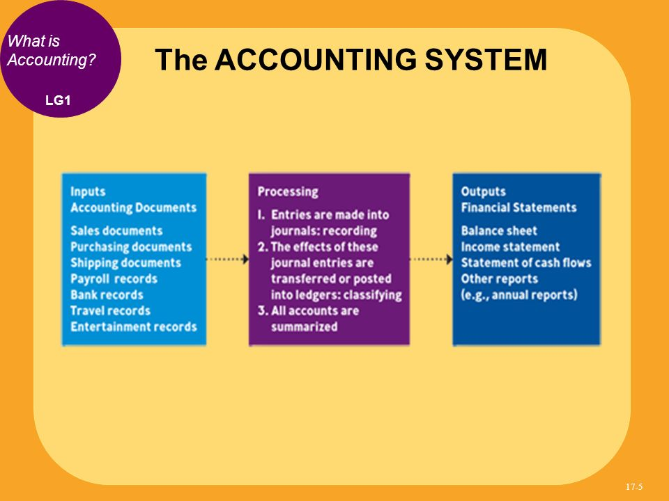 The ACCOUNTING SYSTEM LG1 What is Accounting? 17-5
