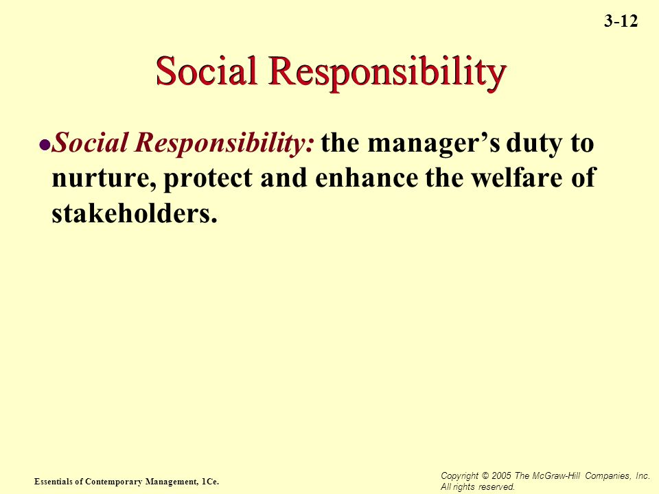 Essentials of Contemporary Management, 1Ce. Copyright © 2005 The McGraw-Hill Companies, Inc. All rights reserved. 3-12 Social Responsibility Social Re