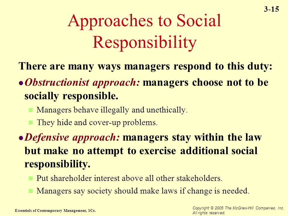 Essentials of Contemporary Management, 1Ce. Copyright © 2005 The McGraw-Hill Companies, Inc. All rights reserved. 3-15 Approaches to Social Responsibi