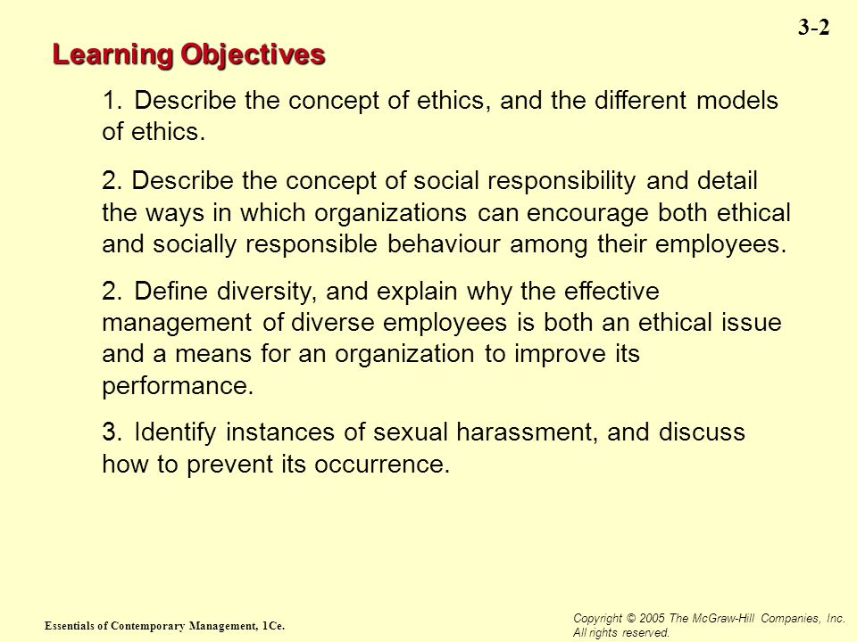 Essentials of Contemporary Management, 1Ce. Copyright © 2005 The McGraw-Hill Companies, Inc. All rights reserved. 3-2 Learning Objectives 1.Describe t