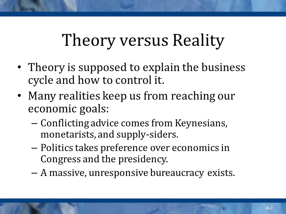 18-2 Theory versus Reality Theory is supposed to explain the business cycle and how to control it. Many realities keep us from reaching our economic g