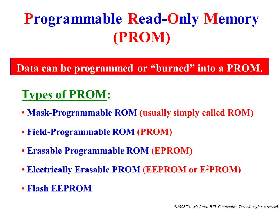 ©2008 The McGraw-Hill Companies, Inc. All rights reserved. QUIZ 1. ROM stands for __________. Read-Only Memory 2. ROM is a semiconductor memory that c