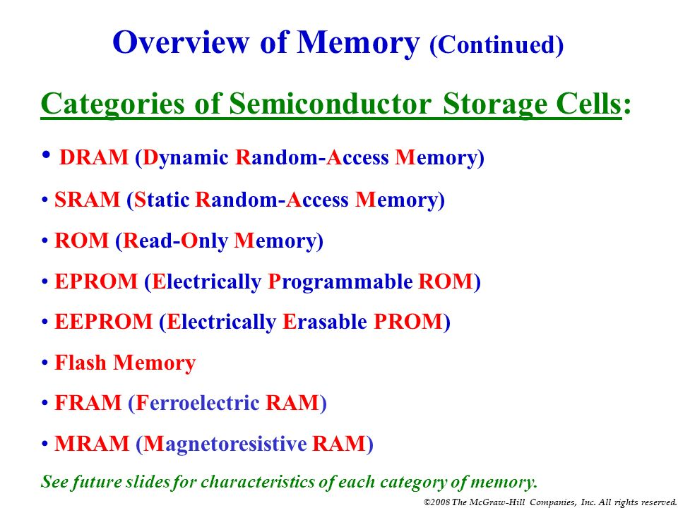 ©2008 The McGraw-Hill Companies, Inc. All rights reserved. QUIZ 1. Three important characteristics of semiconductor memory are (1) density, (2) non-vo