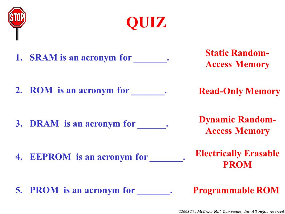 ©2008 The McGraw-Hill Companies, Inc. All rights reserved. DRAM (Dynamic Random-Access Memory) SRAM (Static Random-Access Memory) ROM (Read-Only Memor