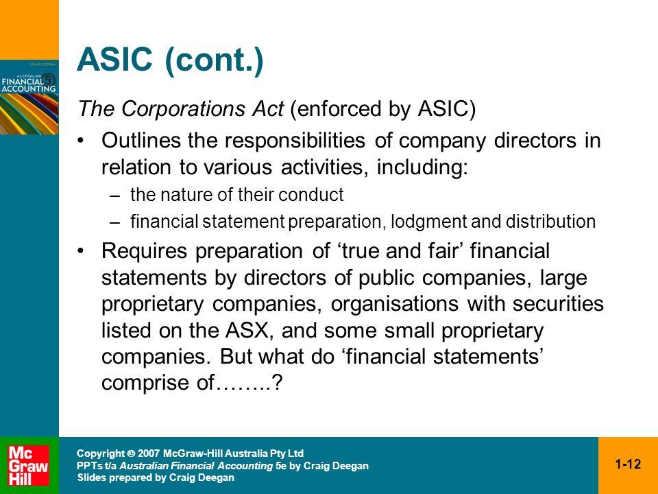 1-12 Copyright 2007 McGraw-Hill Australia Pty Ltd PPTs t/a Australian Financial Accounting 5e by Craig Deegan Slides prepared by Craig Deegan ASIC (co