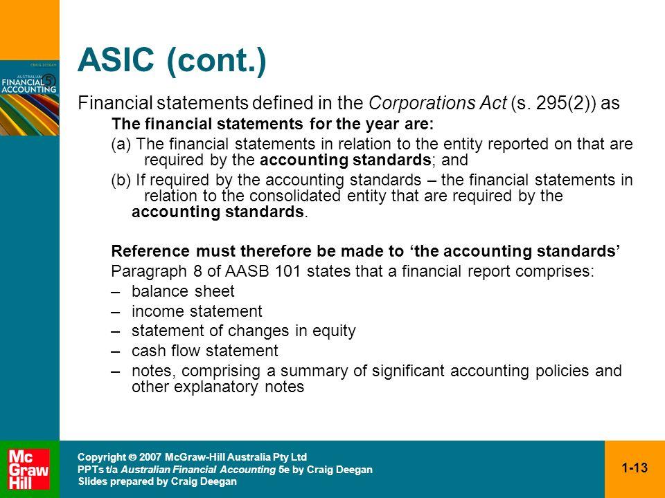 1-13 Copyright 2007 McGraw-Hill Australia Pty Ltd PPTs t/a Australian Financial Accounting 5e by Craig Deegan Slides prepared by Craig Deegan ASIC (co