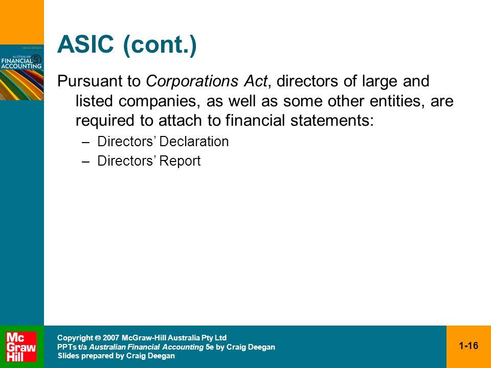 1-16 Copyright 2007 McGraw-Hill Australia Pty Ltd PPTs t/a Australian Financial Accounting 5e by Craig Deegan Slides prepared by Craig Deegan ASIC (co