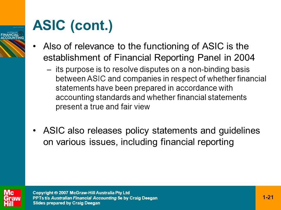 1-21 Copyright 2007 McGraw-Hill Australia Pty Ltd PPTs t/a Australian Financial Accounting 5e by Craig Deegan Slides prepared by Craig Deegan ASIC (co