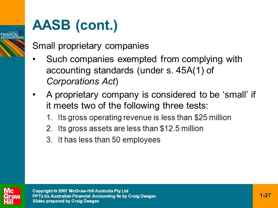 1-27 Copyright 2007 McGraw-Hill Australia Pty Ltd PPTs t/a Australian Financial Accounting 5e by Craig Deegan Slides prepared by Craig Deegan AASB (co