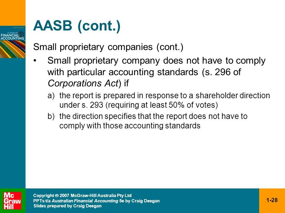 1-28 Copyright 2007 McGraw-Hill Australia Pty Ltd PPTs t/a Australian Financial Accounting 5e by Craig Deegan Slides prepared by Craig Deegan AASB (co