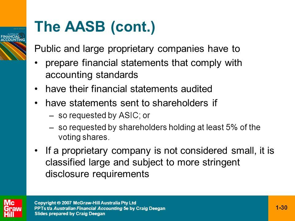 1-30 Copyright 2007 McGraw-Hill Australia Pty Ltd PPTs t/a Australian Financial Accounting 5e by Craig Deegan Slides prepared by Craig Deegan The AASB