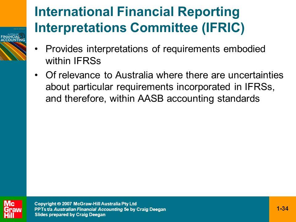 1-34 Copyright 2007 McGraw-Hill Australia Pty Ltd PPTs t/a Australian Financial Accounting 5e by Craig Deegan Slides prepared by Craig Deegan Internat