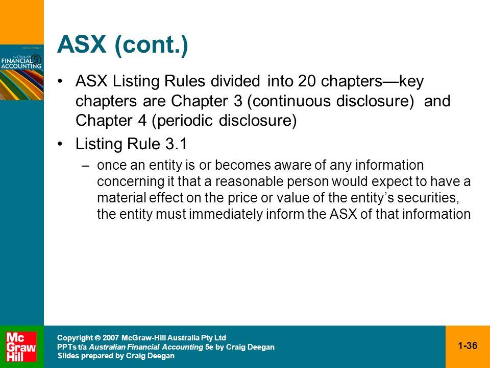 1-36 Copyright 2007 McGraw-Hill Australia Pty Ltd PPTs t/a Australian Financial Accounting 5e by Craig Deegan Slides prepared by Craig Deegan ASX (con