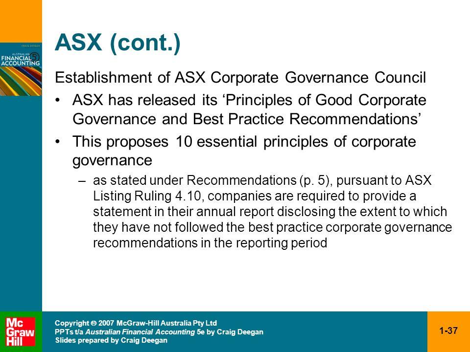 1-37 Copyright 2007 McGraw-Hill Australia Pty Ltd PPTs t/a Australian Financial Accounting 5e by Craig Deegan Slides prepared by Craig Deegan ASX (con