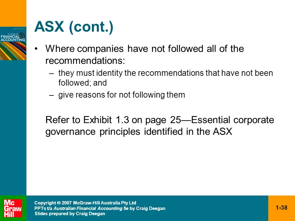 1-38 Copyright 2007 McGraw-Hill Australia Pty Ltd PPTs t/a Australian Financial Accounting 5e by Craig Deegan Slides prepared by Craig Deegan ASX (con