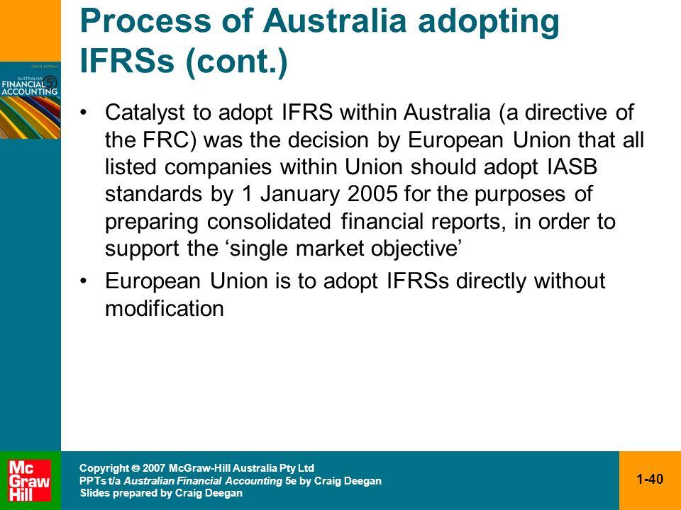 1-40 Copyright 2007 McGraw-Hill Australia Pty Ltd PPTs t/a Australian Financial Accounting 5e by Craig Deegan Slides prepared by Craig Deegan Process