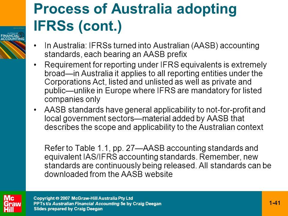 1-41 Copyright 2007 McGraw-Hill Australia Pty Ltd PPTs t/a Australian Financial Accounting 5e by Craig Deegan Slides prepared by Craig Deegan Process