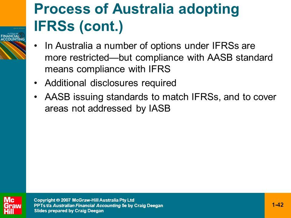 1-42 Copyright 2007 McGraw-Hill Australia Pty Ltd PPTs t/a Australian Financial Accounting 5e by Craig Deegan Slides prepared by Craig Deegan Process