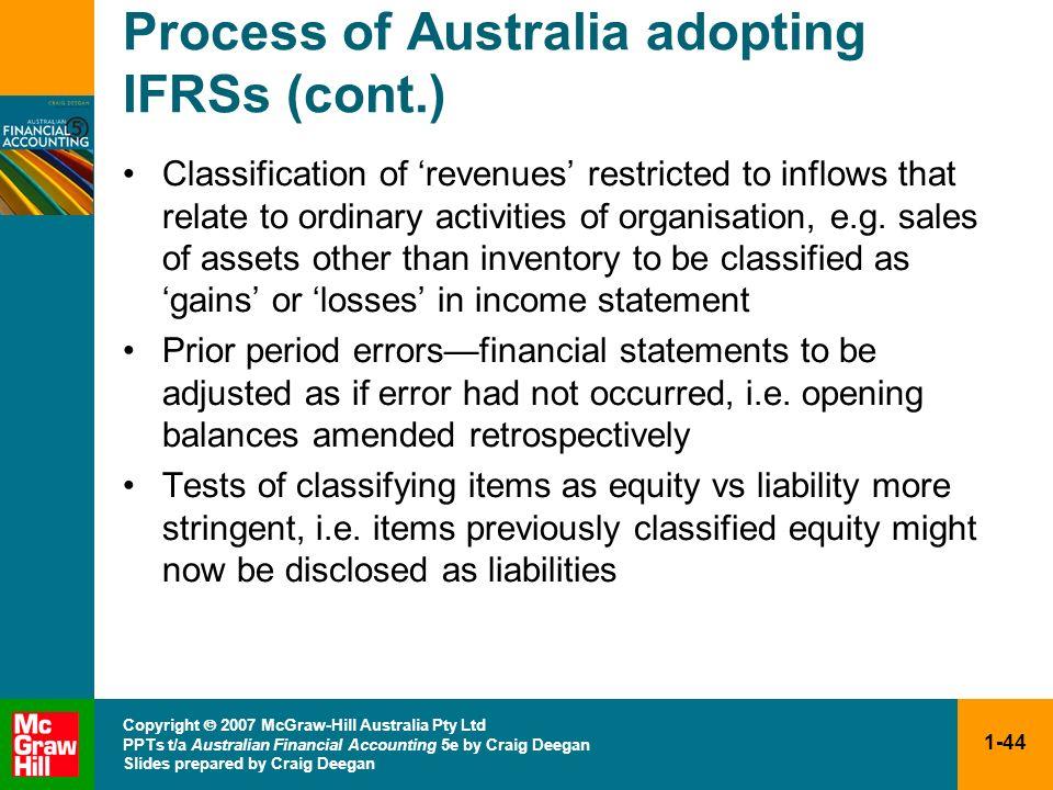 1-44 Copyright 2007 McGraw-Hill Australia Pty Ltd PPTs t/a Australian Financial Accounting 5e by Craig Deegan Slides prepared by Craig Deegan Process