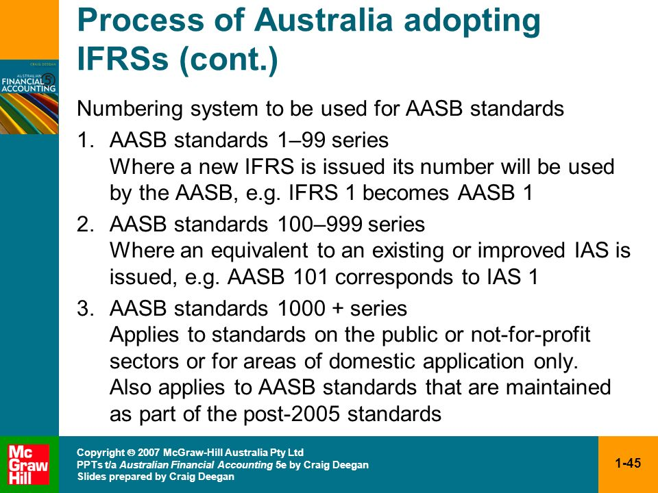 1-45 Copyright 2007 McGraw-Hill Australia Pty Ltd PPTs t/a Australian Financial Accounting 5e by Craig Deegan Slides prepared by Craig Deegan Process