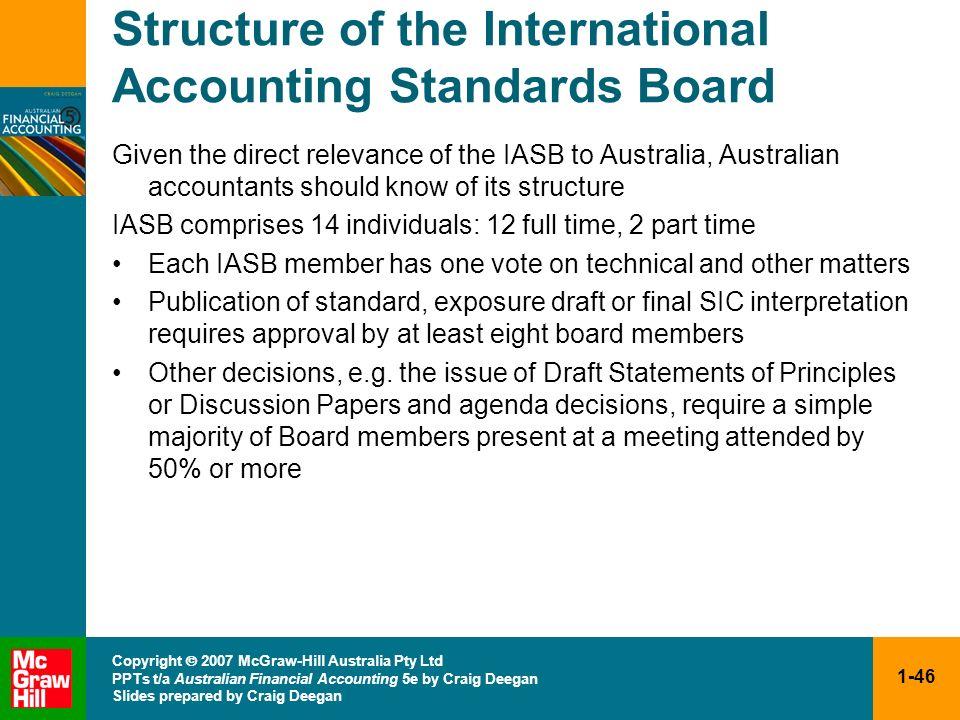 1-46 Copyright 2007 McGraw-Hill Australia Pty Ltd PPTs t/a Australian Financial Accounting 5e by Craig Deegan Slides prepared by Craig Deegan Structur
