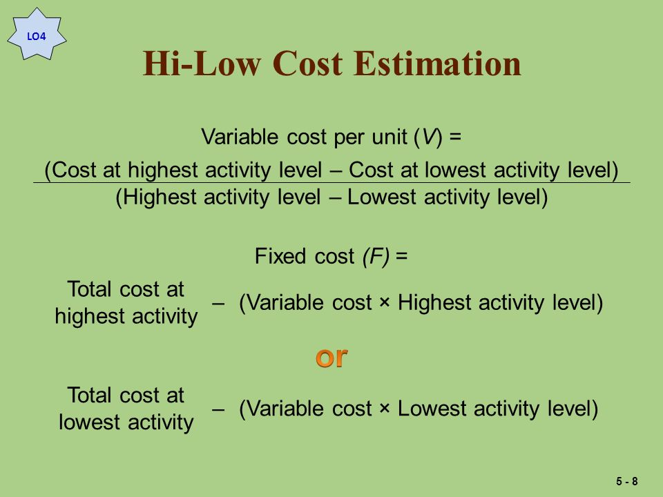Hi-Low Cost Estimation Variable cost per RH (V) = ($12,883 – $9,054) 568 RH – 200 RH = $3,829 368 RH = $10.40 per RH Fixed costs (F)=($12,883 – ($10.40 × 568 RH)=$6,976 Fixed costs (F) =($9,054 – ($10.40 × 200 RH)=$6,974 Rounding difference LO4 5 - 9