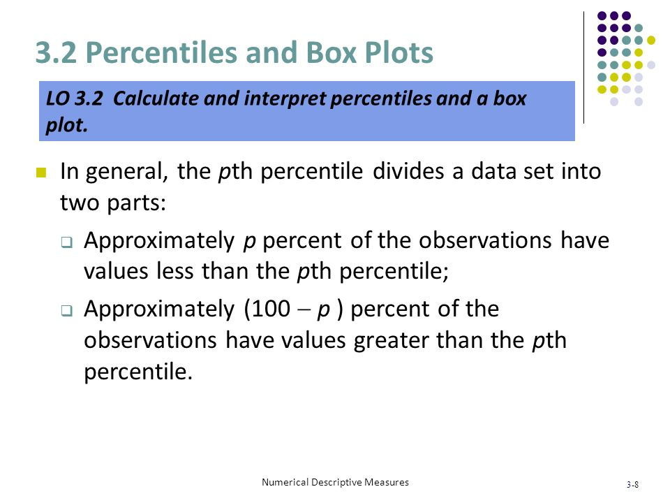 3-8 Numerical Descriptive Measures In general, the pth percentile divides a data set into two parts: Approximately p percent of the observations have