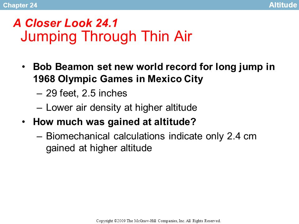 Chapter 24 Copyright ©2009 The McGraw-Hill Companies, Inc. All Rights Reserved. A Closer Look 24.1 Jumping Through Thin Air Bob Beamon set new world r