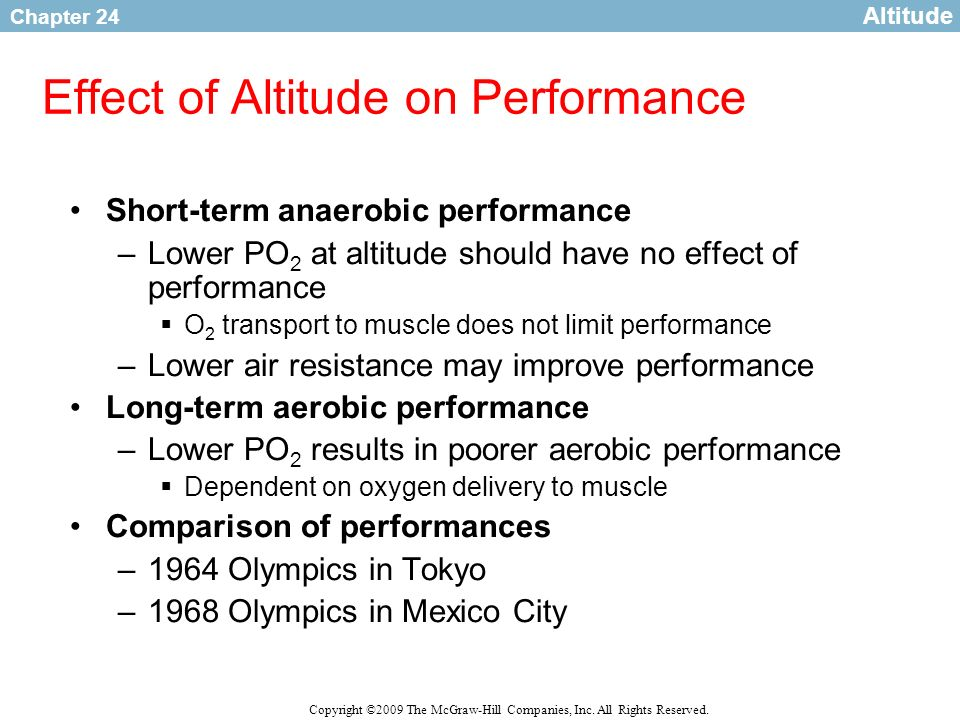 Chapter 24 Copyright ©2009 The McGraw-Hill Companies, Inc. All Rights Reserved. Effect of Altitude on Performance Short-term anaerobic performance –Lo