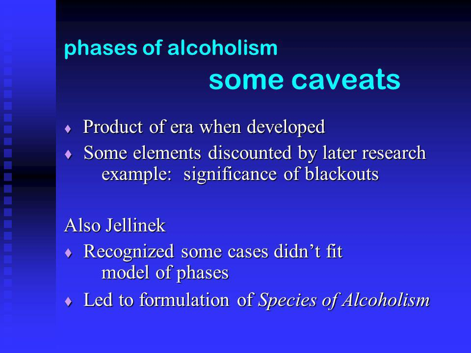 phases of alcoholism some caveats Product of era when developed Product of era when developed Some elements discounted by later research example: significance of blackouts Some elements discounted by later research example: significance of blackouts Also Jellinek Recognized some cases didnt fit model of phases Recognized some cases didnt fit model of phases Led to formulation of Species of Alcoholism Led to formulation of Species of Alcoholism