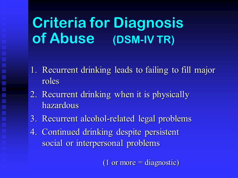 Criteria for Diagnosis of Abuse (DSM-IV TR) 1.