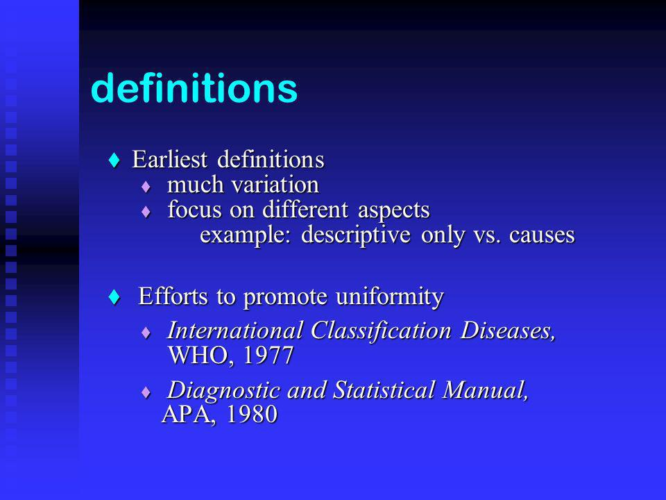 definitions Earliest definitions Earliest definitions much variation much variation focus on different aspects example: descriptive only vs.