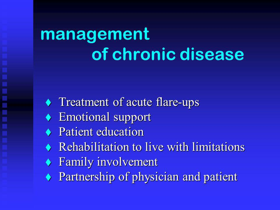management of chronic disease Treatment of acute flare-ups Treatment of acute flare-ups Emotional support Emotional support Patient education Patient education Rehabilitation to live with limitations Rehabilitation to live with limitations Family involvement Family involvement Partnership of physician and patient Partnership of physician and patient