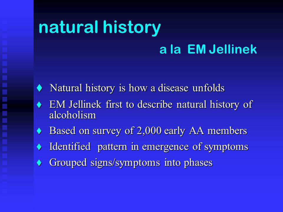 natural history a la EM Jellinek Natural history is how a disease unfolds Natural history is how a disease unfolds EM Jellinek first to describe natural history of alcoholism EM Jellinek first to describe natural history of alcoholism Based on survey of 2,000 early AA members Based on survey of 2,000 early AA members Identified pattern in emergence of symptoms Identified pattern in emergence of symptoms Grouped signs/symptoms into phases Grouped signs/symptoms into phases