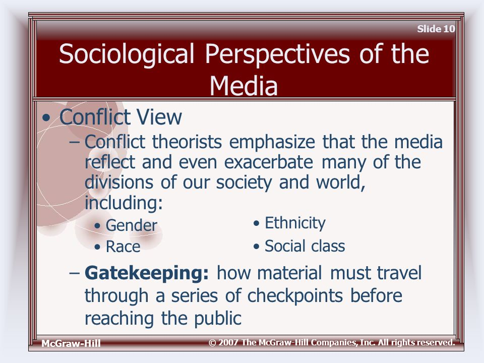 McGraw-Hill © 2007 The McGraw-Hill Companies, Inc. All rights reserved. Slide 10 Sociological Perspectives of the Media –Gatekeeping: how material mus