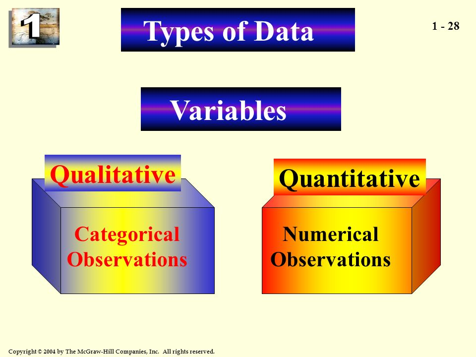 1 - 28 Copyright © 2004 by The McGraw-Hill Companies, Inc. All rights reserved. Quantitative Qualitative Numerical Observations Categorical Observatio