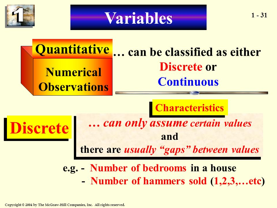 1 - 31 Copyright © 2004 by The McGraw-Hill Companies, Inc. All rights reserved. Quantitative Numerical Observations … can be classified as either Disc