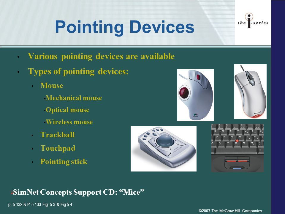 ©2003 The McGraw-Hill Companies Pointing Devices Various pointing devices are available Types of pointing devices: Mouse Mechanical mouse Optical mous