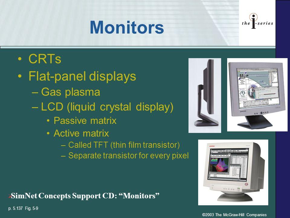 ©2003 The McGraw-Hill Companies Monitors CRTs Flat-panel displays –Gas plasma –LCD (liquid crystal display) Passive matrix Active matrix –Called TFT (